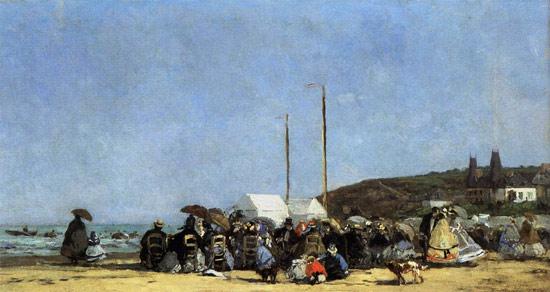 Spiaggia a Trouville di Eugène Boudin