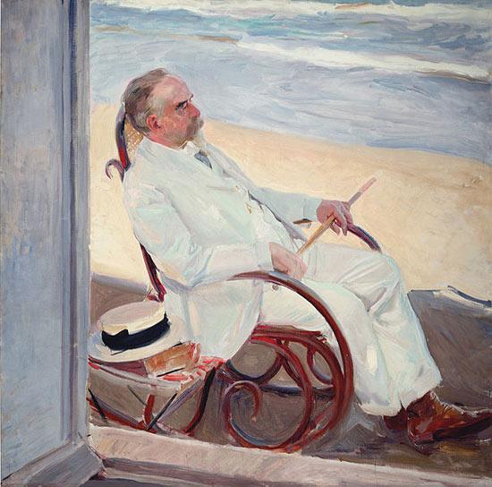 Antonio García sulla spiaggia di Joaquín Sorolla