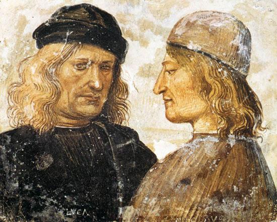 Autoritratto con Niccolò d'Angelo Franceschi di Luca Signorelli