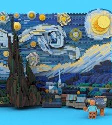 La Notte stellata di van Gogh realizzata con mattoncini Lego in 3D
