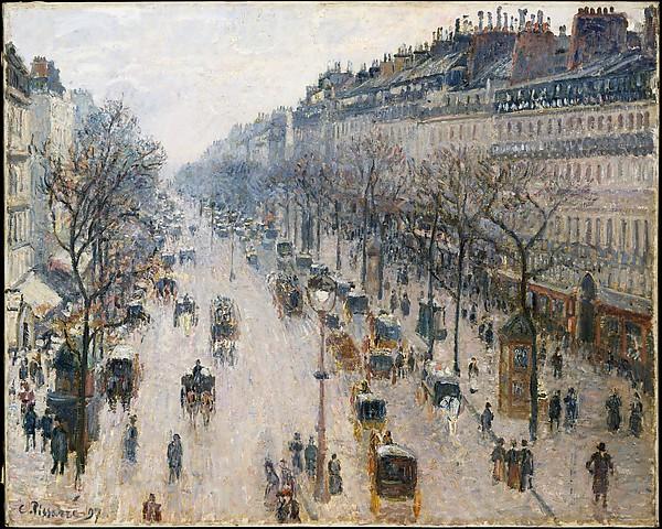 Boulevard Montmartre in una mattina d'inverno di Camille Pissarro