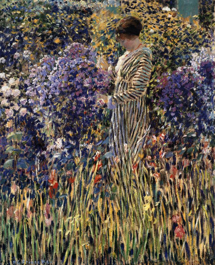 Signora in giardino di Carl Frederick Frieseke