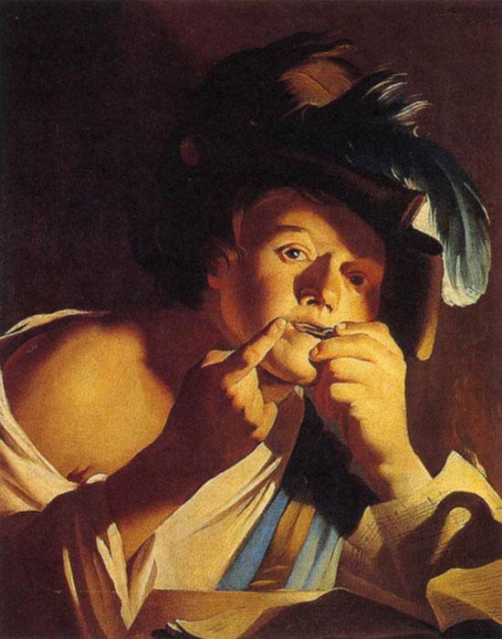 Ragazzo che suona uno scacciapensieri di Dirck van Baburen