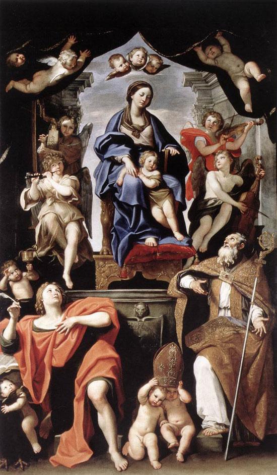 Madonna col Bambino e i santi Petronio e Giovanni Evangelista di Domenichino