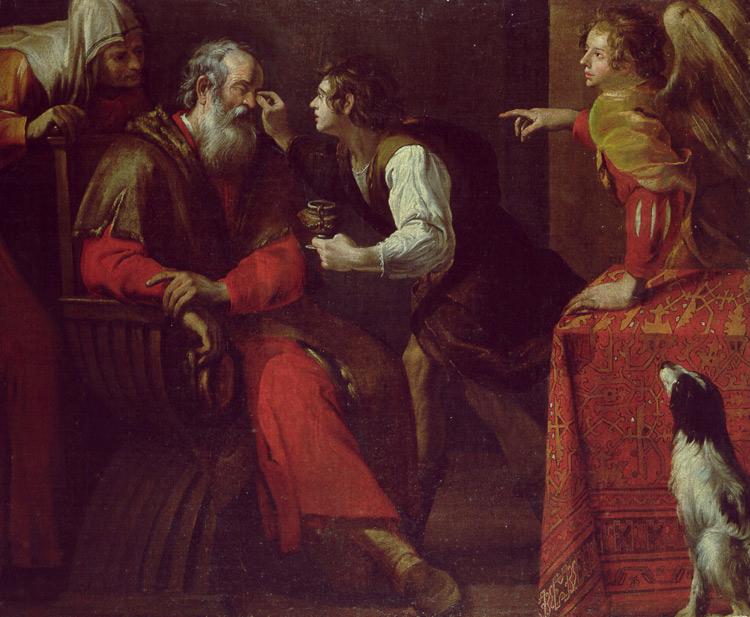 Il profeta Tobia guarisce il padre cieco di Giovanni Battista Carlone