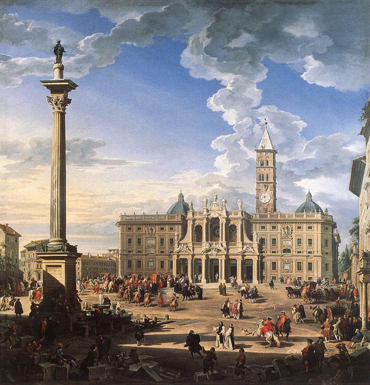 Veduta di piazza Santa Maria Maggiore di Giovanni Paolo Pannini