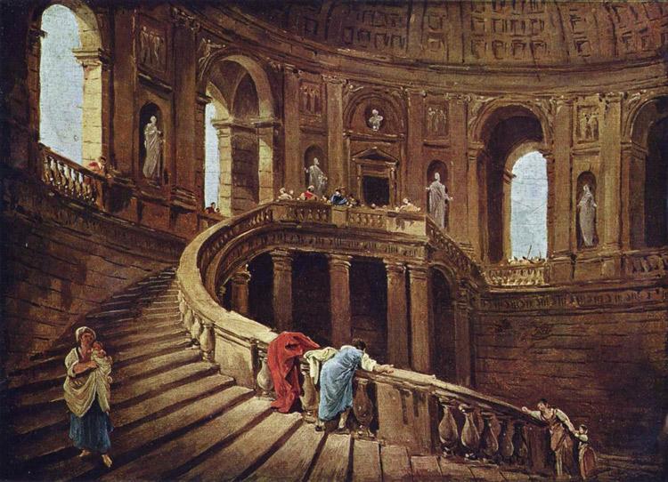 La scala elicoidale di palazzo Farnese a Caprarola di Hubert Robert
