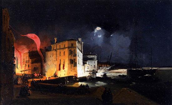 Festa notturna sulla via Eugenia di Ippolito Caffi