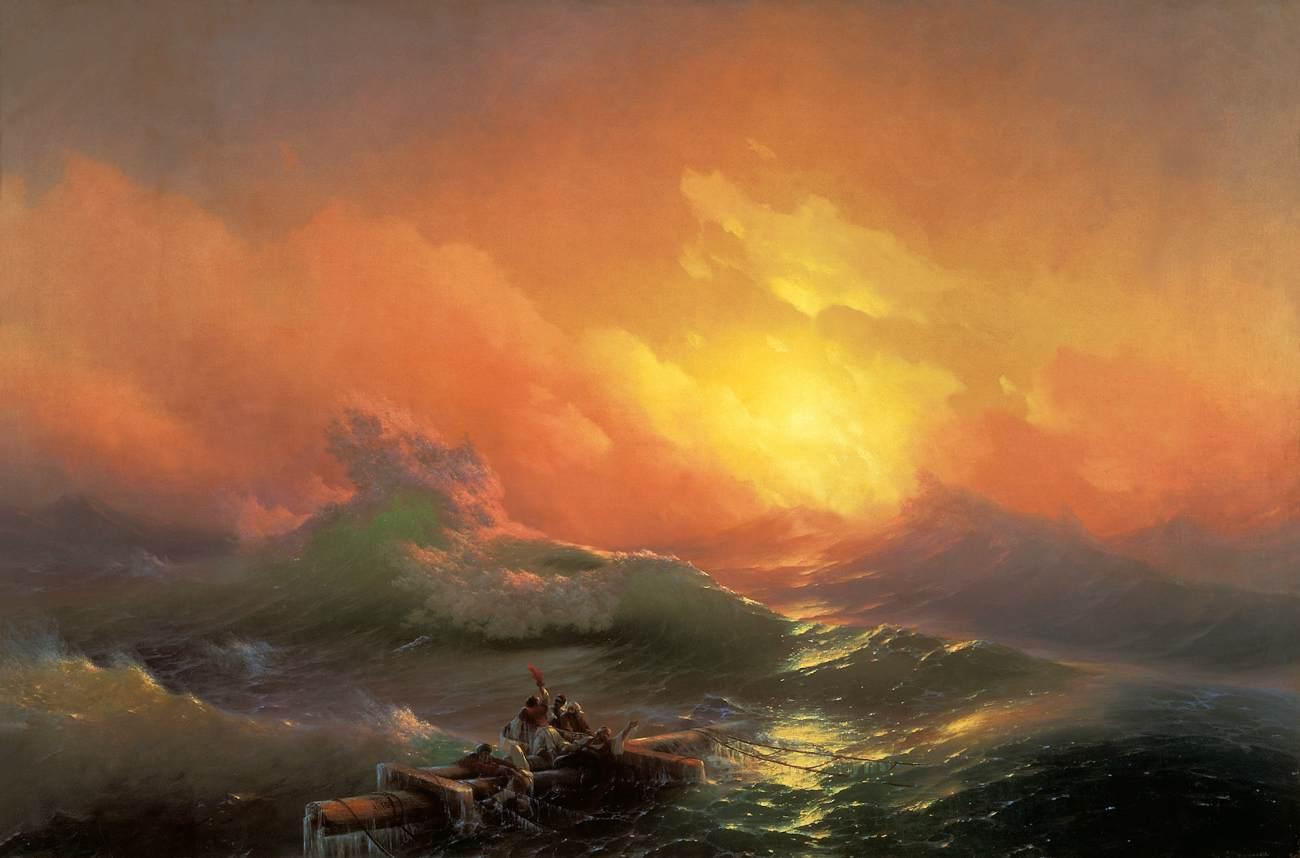 Ivan Ajvazovskij, La nona onda (1850; olio su tela, 221 x 332 cm; San Pietroburgo, Museo Russo)