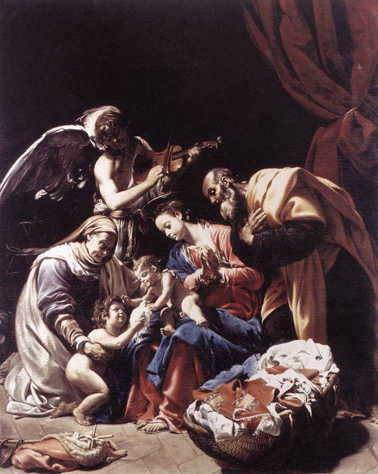 Sacra Famiglia con sant'Elisabetta, san Giovannino e un angelo di Orazio Borgianni