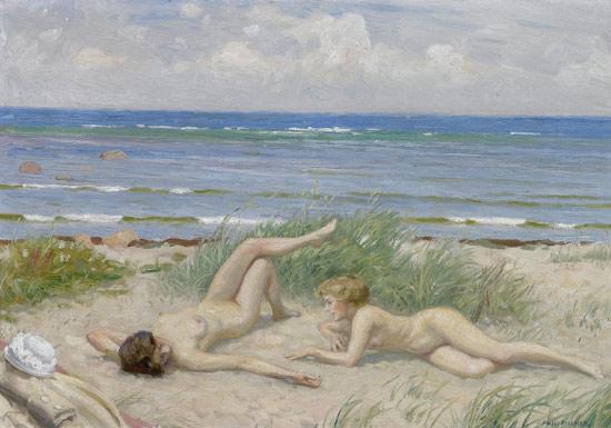 Ragazze sulla spiaggia a Båstad di Paul Gustav Fischer