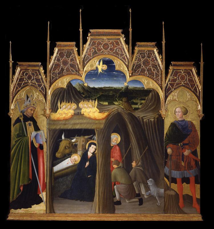 Adorazione dei pastori tra i santi Agostino e Galgano di Pietro di Giovanni Ambrosi