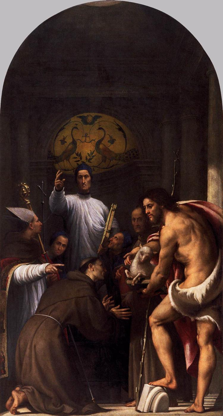 Beato Lorenzo Giustiniani tra due canonici e santi di Pordenone