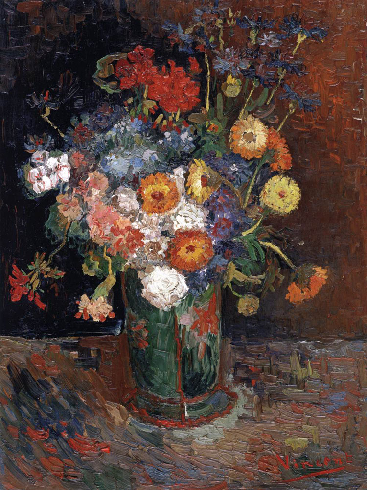 Vaso di zinnie e gerani di Vincent van Gogh