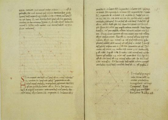 Due fogli del De Quinque corporibus regularibus