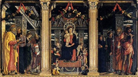 I tre pannelli principali della pala di San Zeno