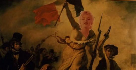 L'immagine della Libertà di Delacroix con apposta la foto di Marilyn