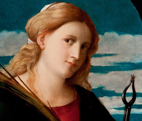Palma il Vecchio, Santa Apollonia (particolare), dal Polittico della Presentazione della Vergine; 1515-1517; Serina, Santa Maria Annunciata