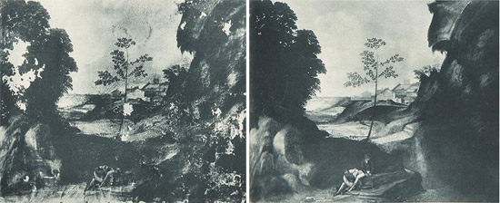 Il Tramonto prima e dopo il primo restauro del 1933