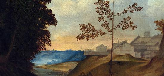 Dettaglio del tramonto sul borgo