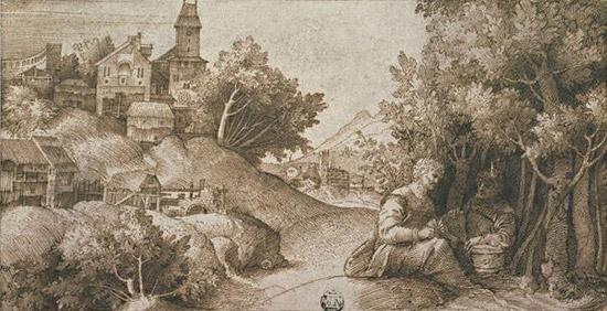 Giulio Campagnola, Paesaggio con due uomini seduti vicino a un bosco