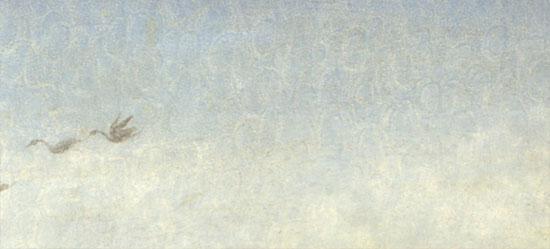 Il cielo nel dipinto, con le impronte delle dita del pittore