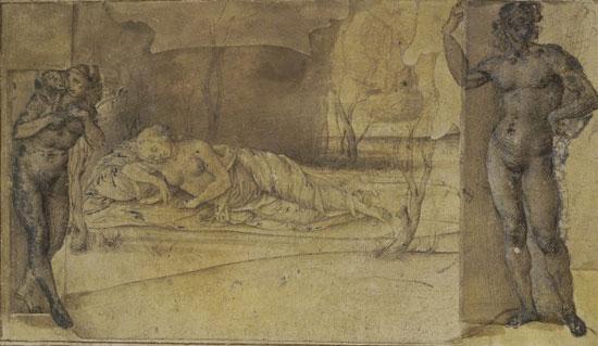 Piero di Cosimo (attribuito a), Donna sdraiata in un paesaggio e due figure nude
