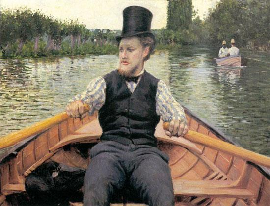 Gustave Caillebotte, Vogatore con cilindro