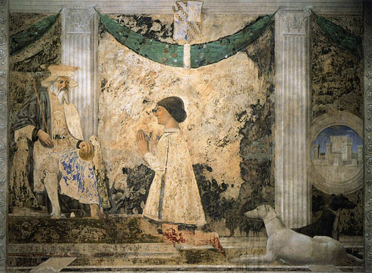 Piero della Francesca, Sigismondo Malatesta in preghiera davanti a san Sigismondo