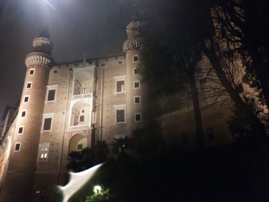 La facciata dei torricini di Palazzo Ducale