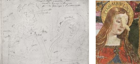 Appunti di Giovanni Battista Cavalcaselle sulla Pala dei Cacciatori di Bartolomeo Caporali. A destra, uno dei due frammenti del dipinto
