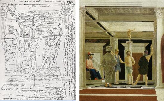 Appunti di Giovanni Battista Cavalcaselle sulla Flagellazione di Piero della Francesca