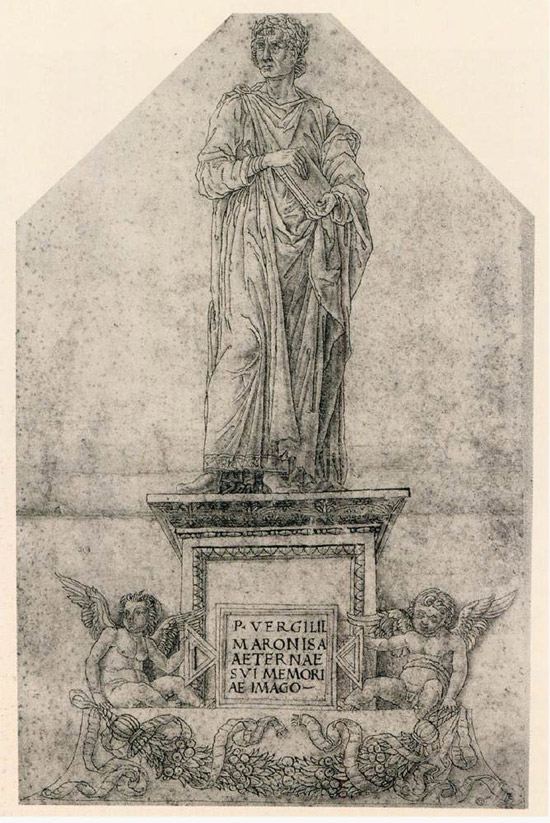 Cerchia di Andrea Mantegna, Monumento a Virgilio