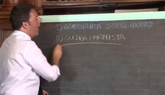 Renzi presenta la buona scuola, con vistoso errore grammaticale