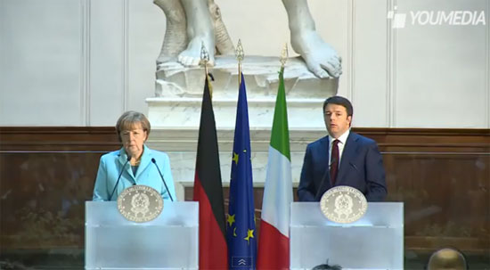 Renzi e Merkel davanti al David di Michelangelo