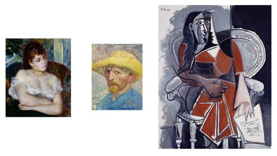 I tre ritratti a confronto