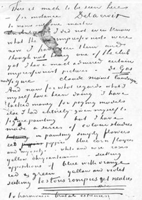 Un brano della lettera di Van Gogh a Livens