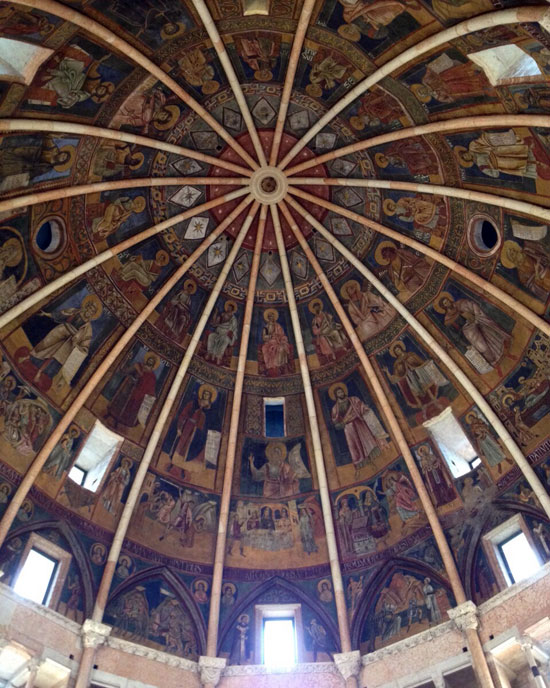 I dipinti che decorano la cupola del Battistero di Parma
