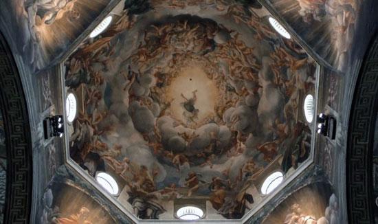 La Cupola del Duomo di Parma con la Assunzione della Vergine affrescata dal Correggio