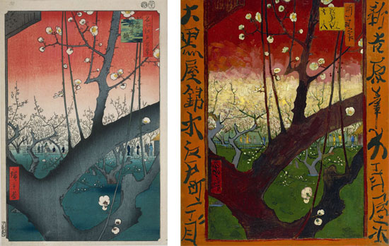 Confronto tra Hiroshige e Van Gogh