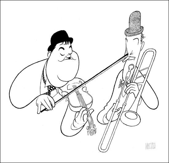 Al Hirschfeld, Laurel & Hardy - Here's looking at you