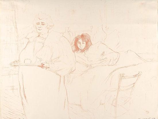 Henri de Toulouse-Lautrec, Femme au plateau - Petit déjeuner