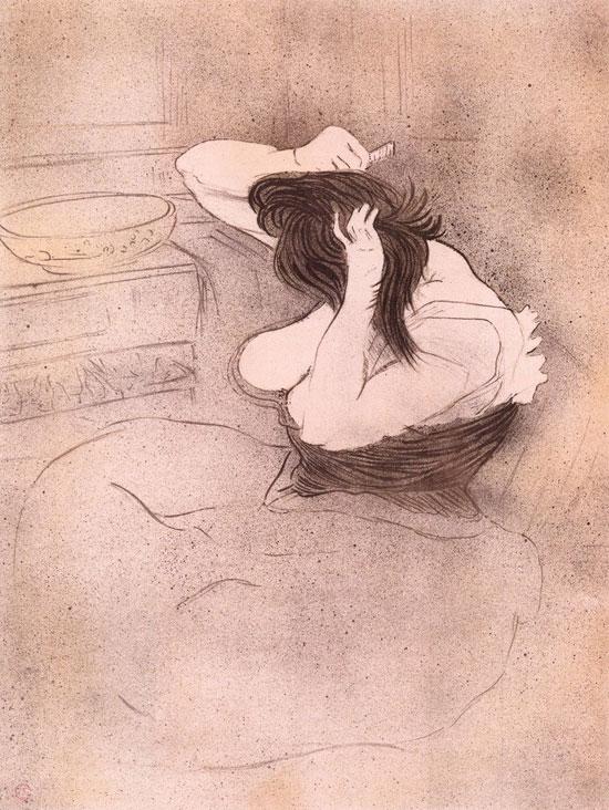 Henri de Toulouse-Lautrec, Femme qui se peigne - La coiffure