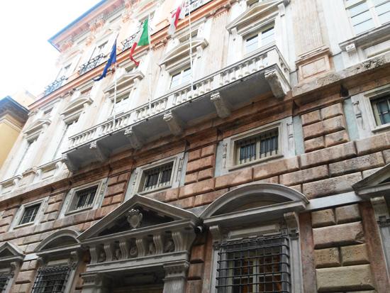 La facciata di Palazzo Tobia Pallavicino