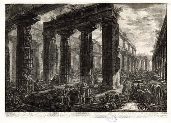 Giovanni Battista Piranesi, Veduta dell'interno del tempio di Nettuno a Paestum