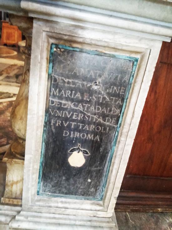 Dedica delle pitture dell'abside (Università dei Fruttaroli)