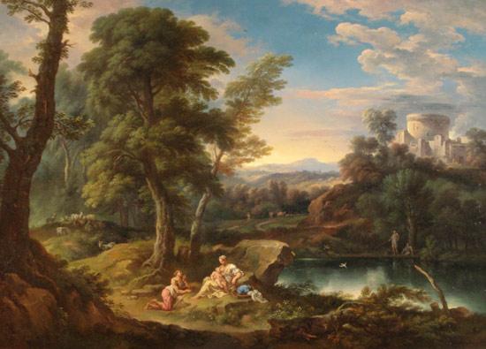 Carlo Tavella, Paesaggio boscoso con uno stagno