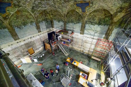 Attuale cantiere di restauro della Sala delle Asse