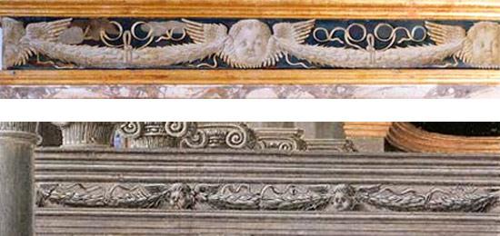 Il confronto tra il fregio dell'alcova e quello della Presentazione della Vergine al Tempio di fra' Carnevale conservata a Boston