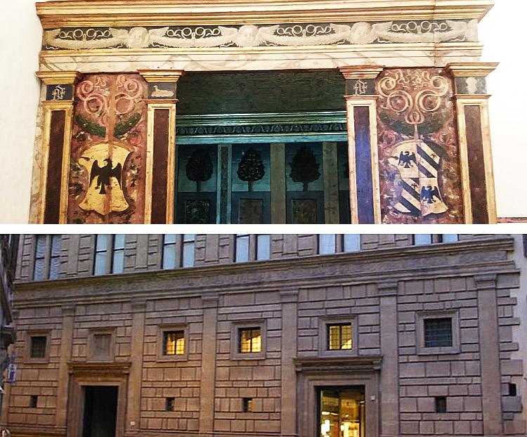 Il confronto tra l'architettura dell'alcova e quella di Palazzo Rucellai a Firenze